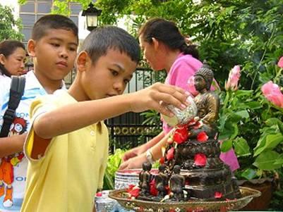 Tưới nước tắm Phật