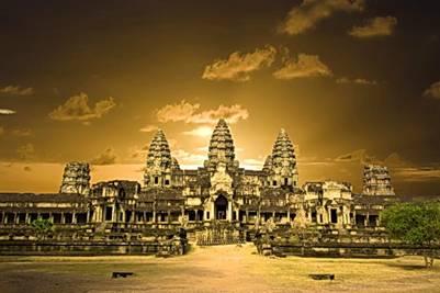 Angkor Wat rực rỡ lúc chiều về
