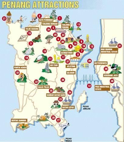 Bản đồ du lịch bang Penang