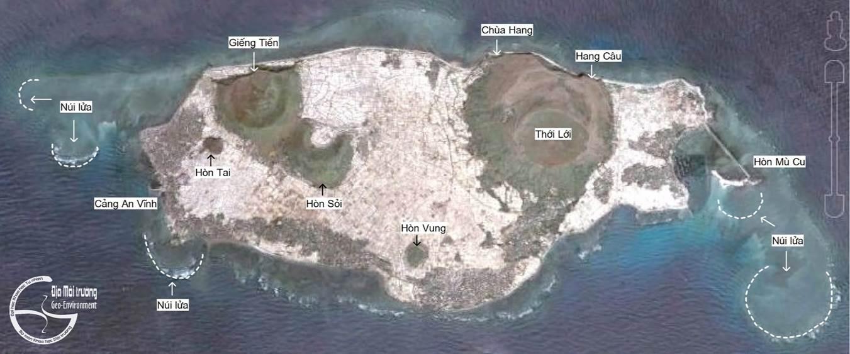 Hệ thống núi lửa kiểu nón xỉ ở cù lao Ré